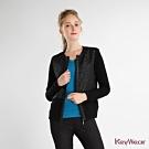 KeyWear奇威名品     質感紋路圓領外套-黑色