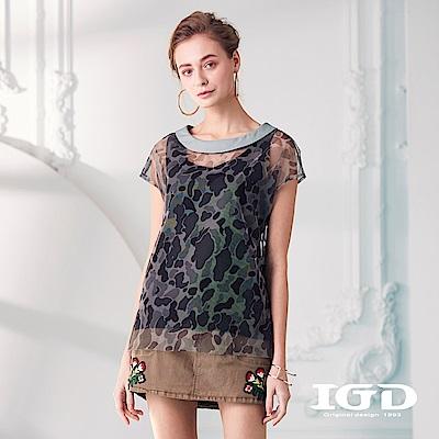 IGD英格麗 個性迷彩網紗造型上衣-綠色