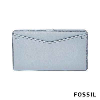 FOSSIL Caroline 輕甜玩美RFID真皮長夾-粉藍色