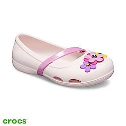 Crocs 卡駱馳 (童鞋) 莉娜女孩奇趣平底鞋-205529-6PI