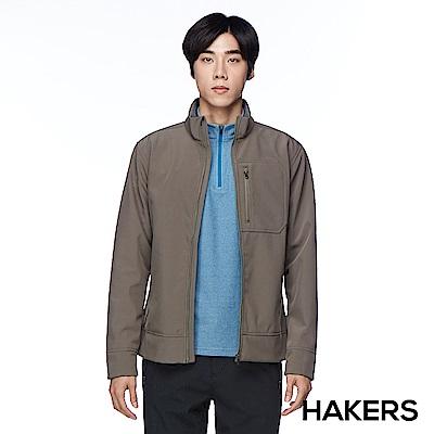 【HAKERS 哈克士】男款 休閒防潑保暖外套(淺褐色)