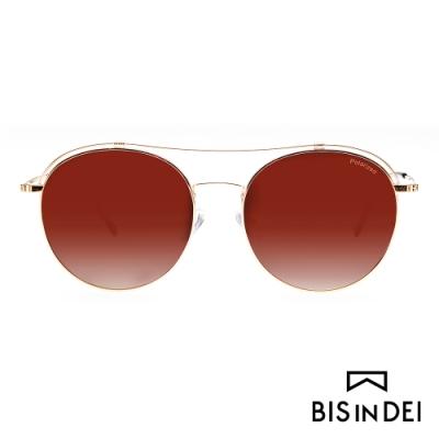 BIS IN DEI 復古造型雙槓太陽眼鏡-紅