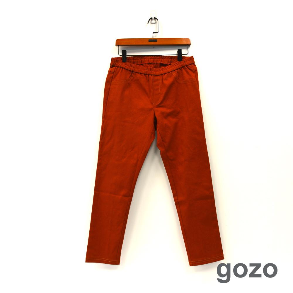 gozo 百搭素面修身鬆緊鉛筆褲(三色)