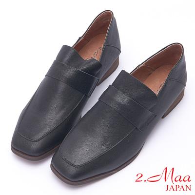 2.Maa 復古懷舊牛皮粗跟方頭包鞋 - 黑