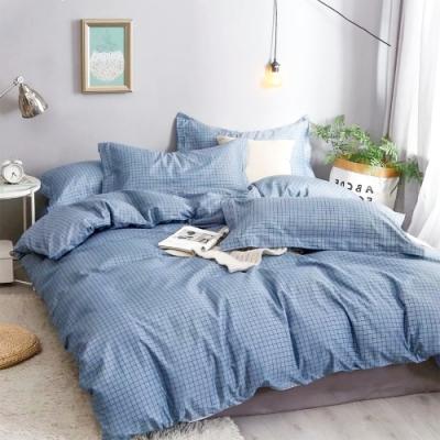 A-ONE 雪紡棉 雙人加大床包/枕套 三件組-都市濾鏡-藍