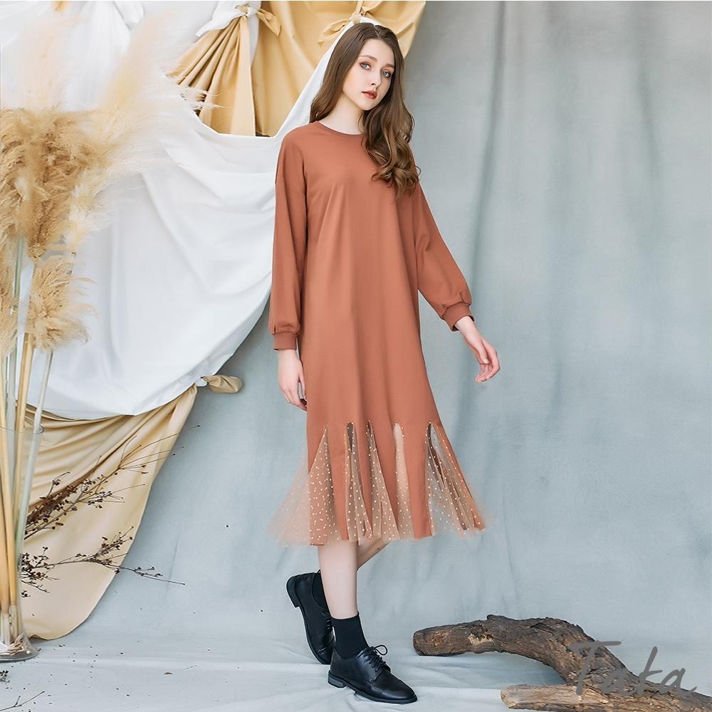 下擺造型鏤空點點網紗洋裝 共二色 TATA-(M~XL) (棕色)