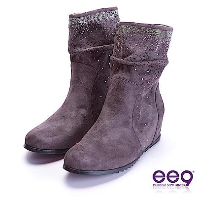 ee9 璀璨奢華閃耀鑲嵌亮鑽素面平底中筒靴 灰色