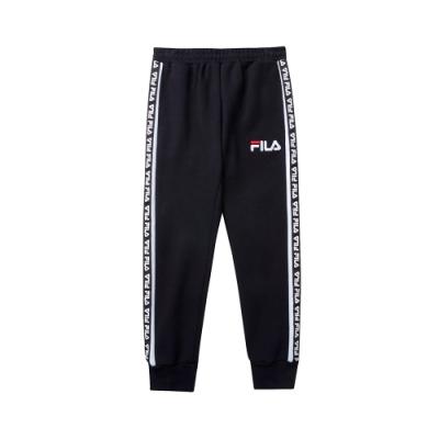 FILA KIDS #肆意極線 針織束口長褲-黑色 1PNT-8426-BK