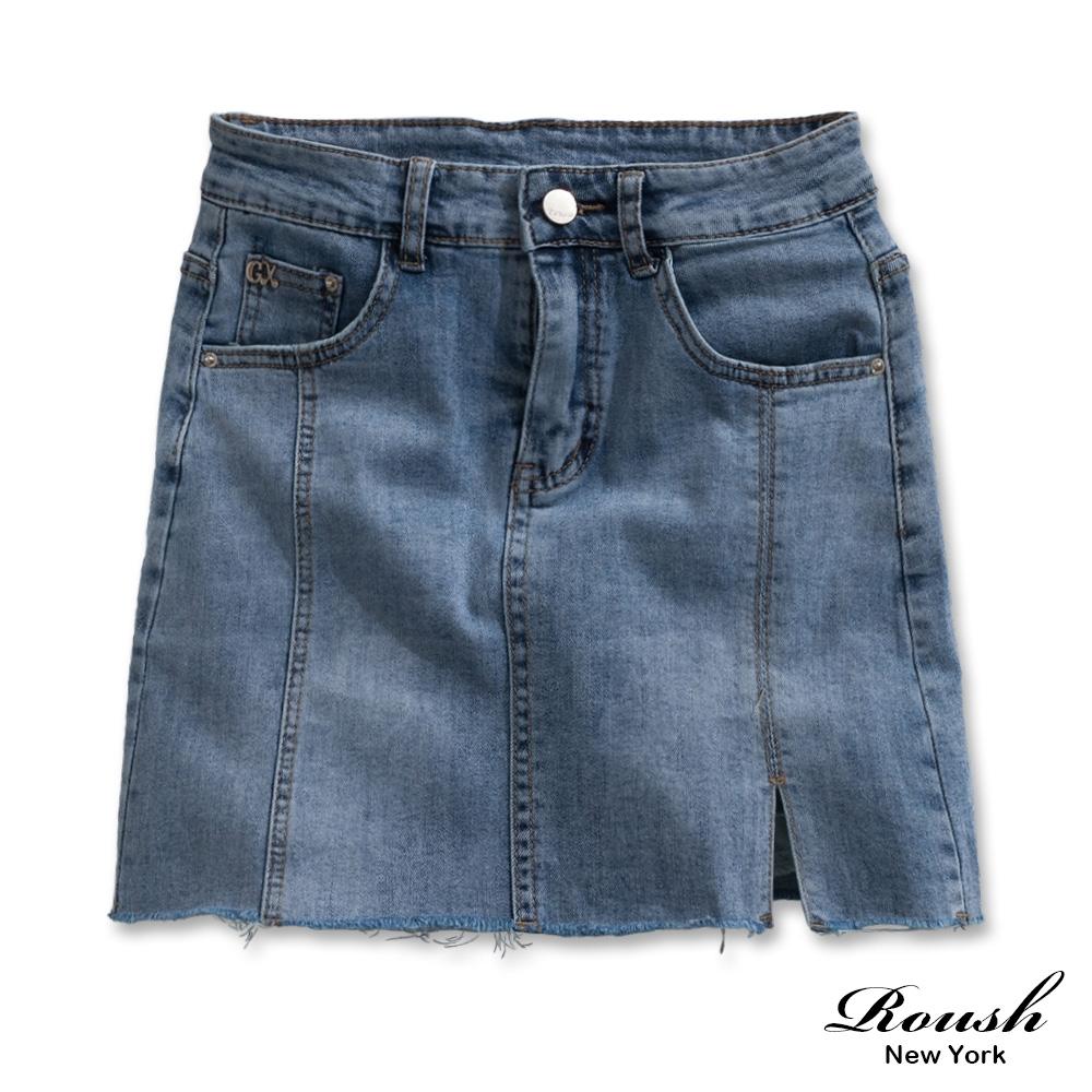 Roush 女生性感開岔牛仔短裙(含內裡防走光)(2色)
