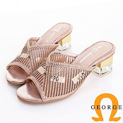 GEORGE 喬治皮鞋 質感水鑽字母v斜口時尚方跟拖鞋 -粉