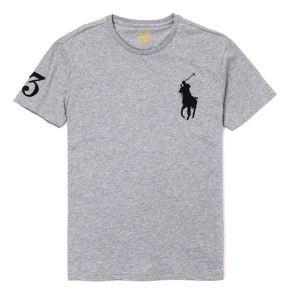 Polo Ralph Lauren 年度熱銷電繡大馬圓領素面短袖T恤-灰色