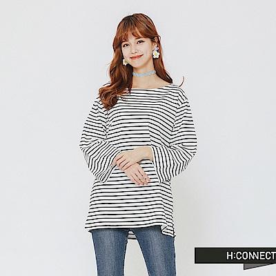 H:CONNECT 韓國品牌 女裝-簡約條紋五分袖上衣-藍