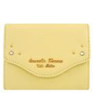 Samantha Thavasa 鵝黃色鉚釘皮革證件名片短夾