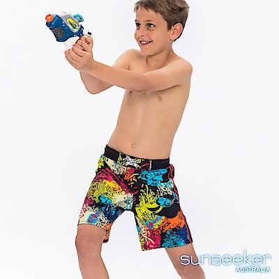 澳洲Sunseeker抗UV防曬海灘褲泳褲-大男童/塗鴉黑