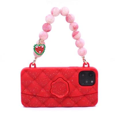 【Candies】幻彩水晶手提晚宴包(紅) - iPhone 11 Pro (附聖誕手鏈)