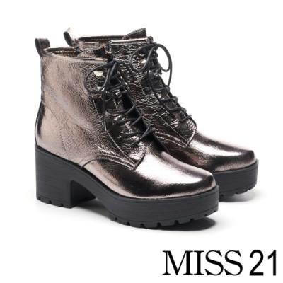 短靴 MISS 21 經典個性全真皮綁帶防水台設計高跟短靴-古銅