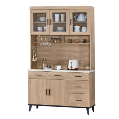 文創集 卡多隆時尚4尺木製仿石面餐櫃組合(上+下座)-120.9x43x202.2cm免組