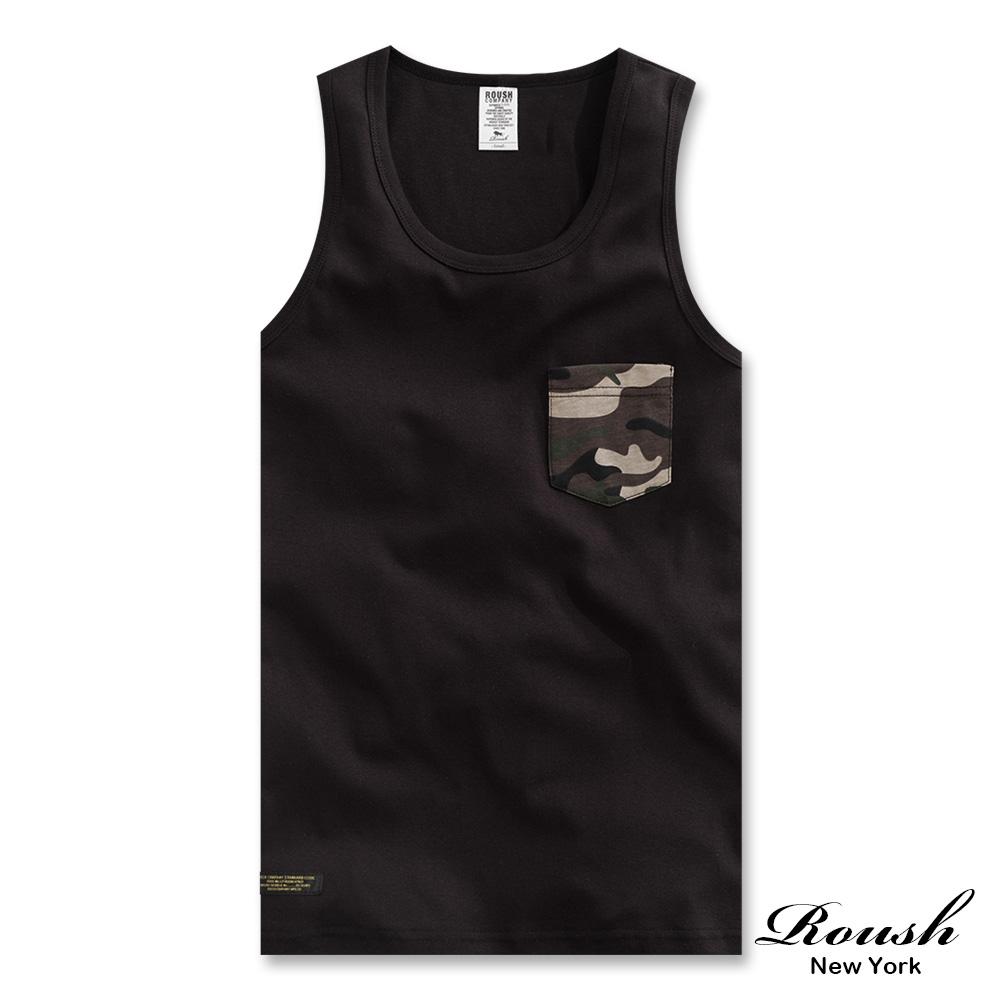 Roush 迷彩口袋螺紋棉質背心(2色)
