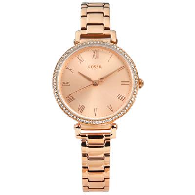 FOSSIL 典雅羅馬刻度 晶鑽鑲圈 礦石強化玻璃 不鏽鋼手錶-鍍玫瑰金/28mm