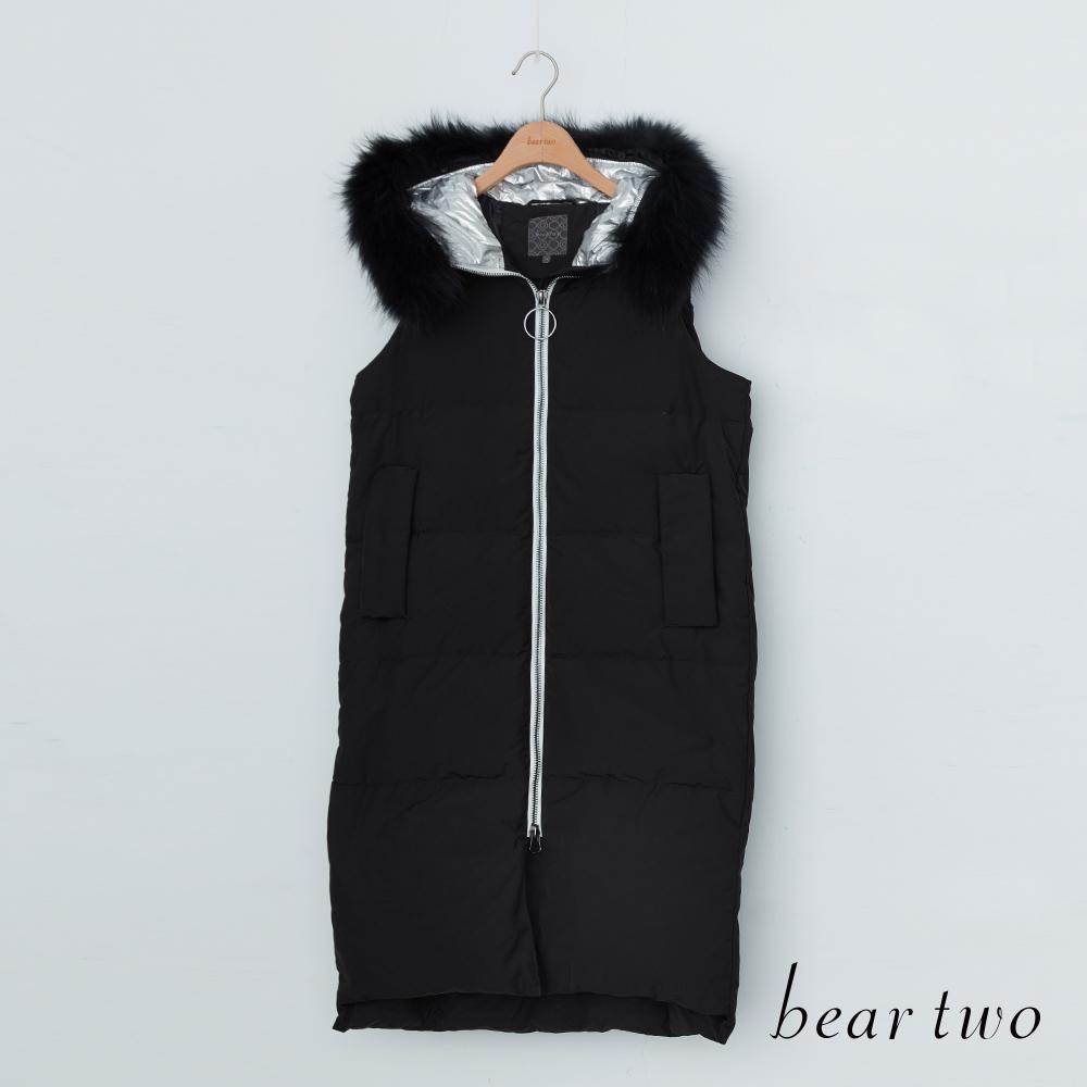 beartwo  時尚太空感毛領長版羽絨背心上衣(黑色)