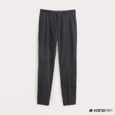 Hang Ten-男裝素面REGULAR FIT防皺工作長褲-鐵灰