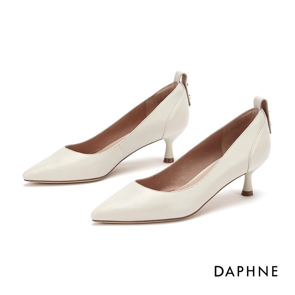 達芙妮DAPHNE 高跟鞋-柔軟真皮時尚尖頭高跟鞋-米白