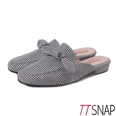 TTSNAP穆勒鞋-時尚蝴蝶結千鳥格方頭鞋 黑