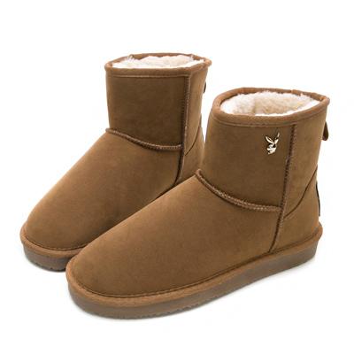 PLAYBOY 陽光雪戀 皇冠織標短筒雪靴-棕