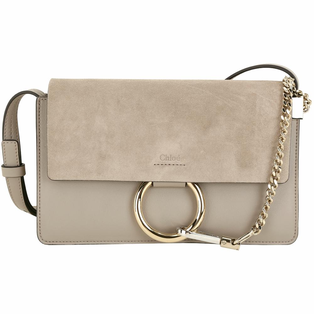 CHLOE Faye 小款 麂皮拼接小牛皮多夾層肩背斜背包(卡其灰) 品牌熱賣系列 現量補貨
