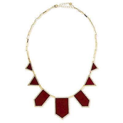 House of Harlow  1960  經典三角幾何項鍊 鑲鑽紅皮革款