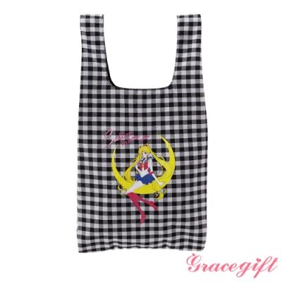 Grace gift-美少女戰士圖案手提袋 黑格