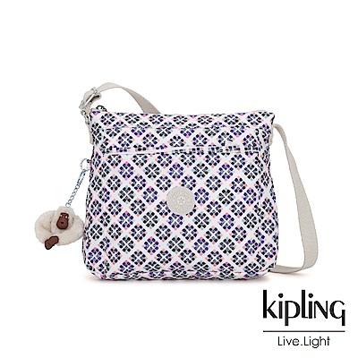 Kipling 復古花磚方形拉鍊側背包-MOYELLE