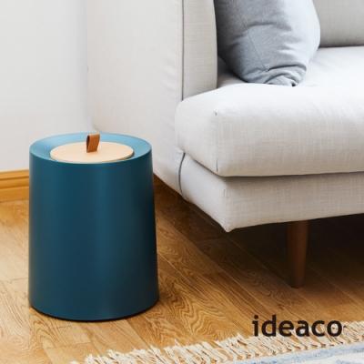 日本IDEACO 圓形家用垃圾桶-11.4L(附專用原木蓋)