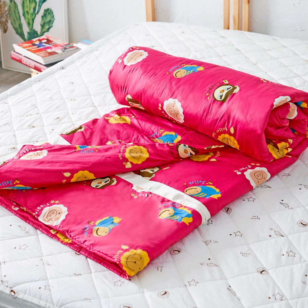 奶油獅 同樂會系列-台灣製造-100%精梳純棉兩用被套(莓果紅)-單人 @ Y!購物