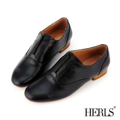 HERLS 經典學院 內真皮沖孔無鞋帶圓頭牛津鞋-黑色