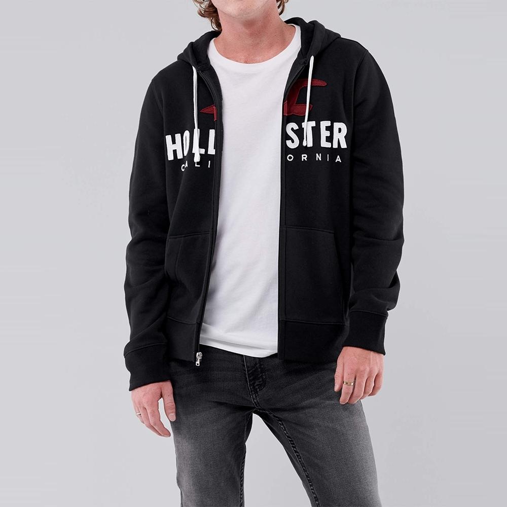 Hollister 海鷗 經典刺繡大海鷗文字連帽外套-黑色