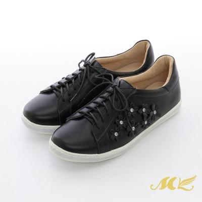 MK-YAHOO獨家款-百花爭艷水鑽真皮綁帶平底休閒鞋