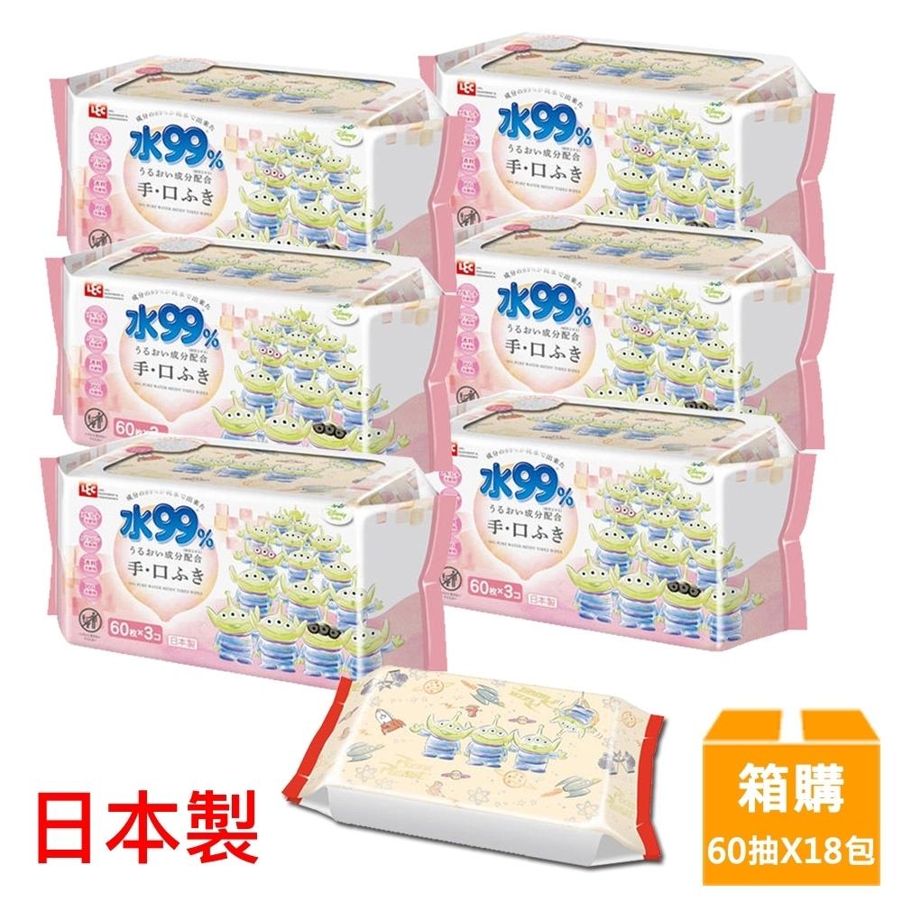 日本LEC 新款迪士尼三眼怪-口手專用純水99%濕紙巾箱購-60抽x18包入