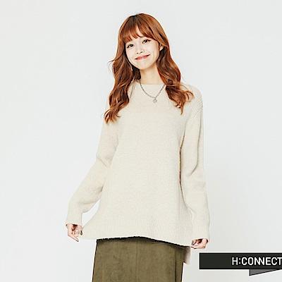H:CONNECT 韓國品牌 女裝-圓領側開岔毛衣-卡其