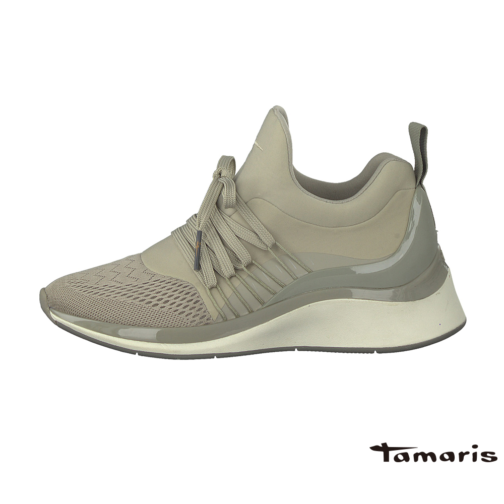 TAMARIS(女) Fashletics 系列 引帶高底異材質時尚運動鞋 - 銀灰