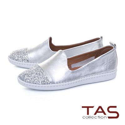 TAS低調閃耀異材質拼接縫線休閒鞋-星空銀