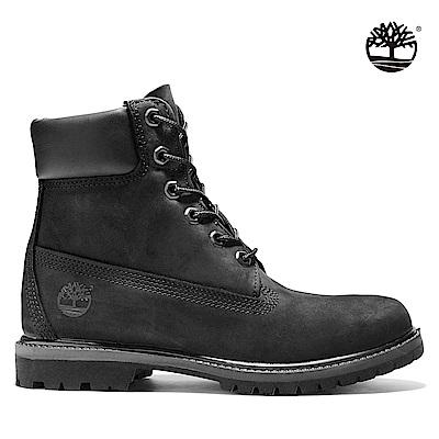 Timberland 女款黑色磨砂皮革六吋靴 8658A