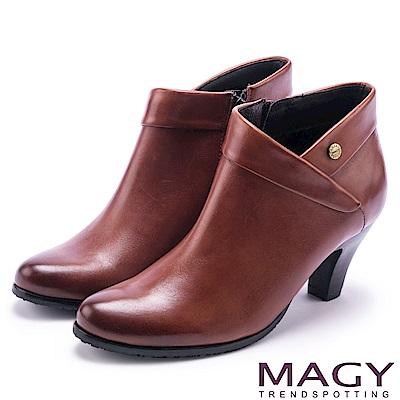 MAGY 復古時髦 反折鉚釘牛皮高跟裸靴-棕色