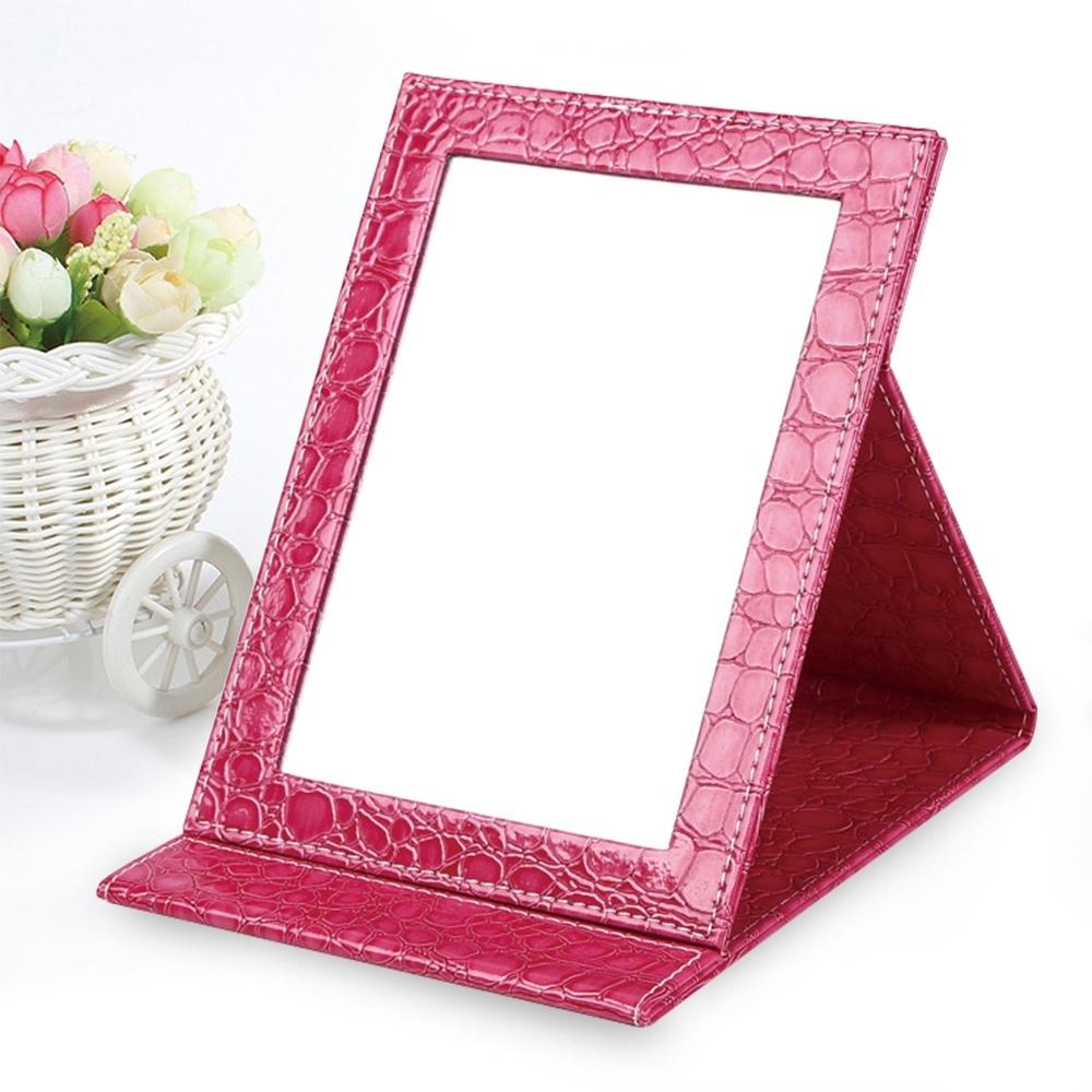 幸福揚邑 9吋超大皮革折疊鏡時尚質感隨身彩妝美妝化妝鏡/桌鏡(鱷皮紋玫色)