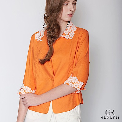 GLORY21 蕾絲花短版外套-橘 @ Y!購物