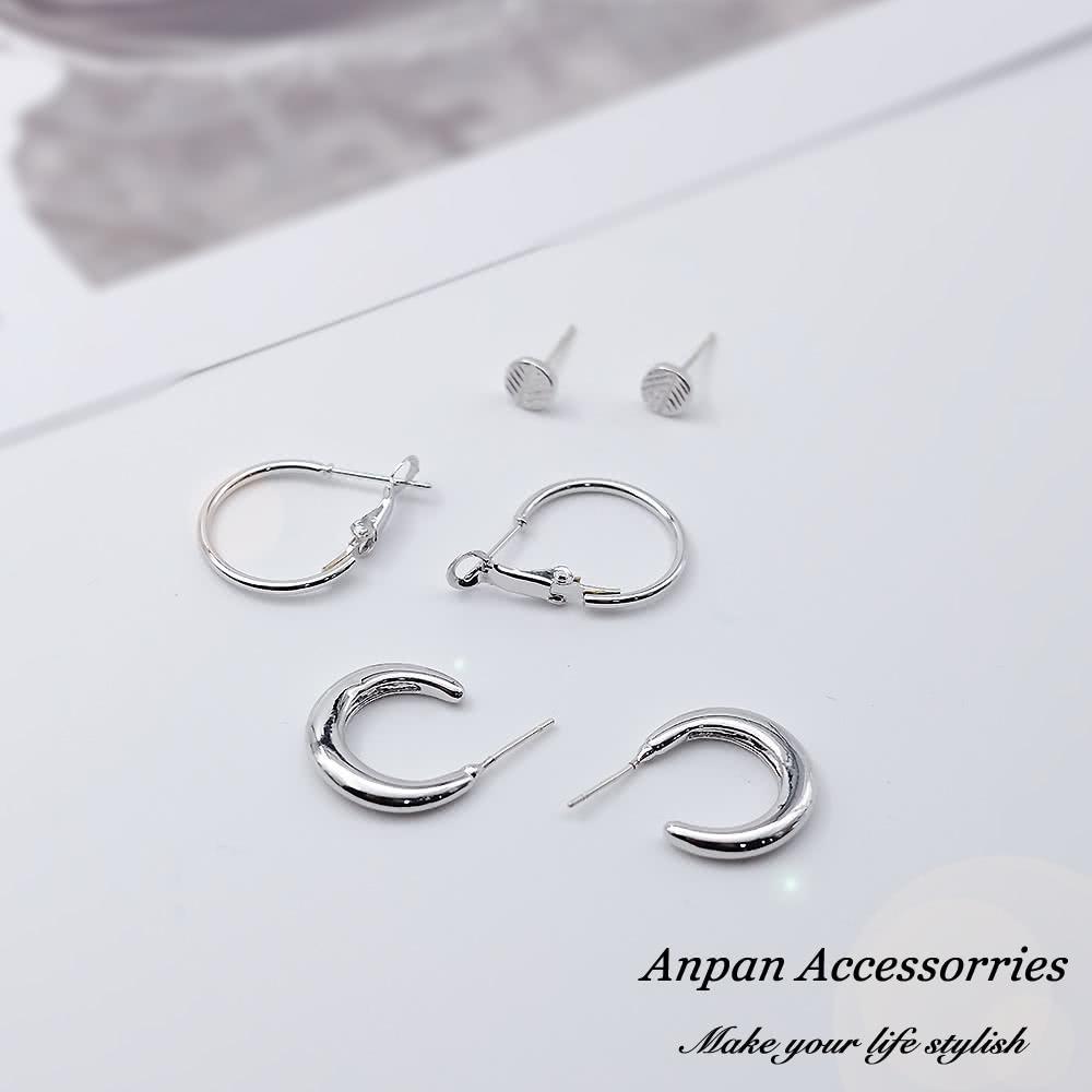 【Anpan 愛扮】韓東大門NYU氣質簡約C型925銀針耳釘式耳環套裝三件組-銀