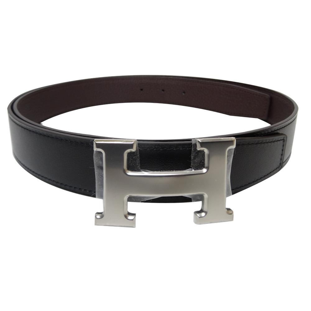 HERMES 銀釦H LOGO雙面用小牛皮腰帶/皮帶(黑x咖啡100公分)