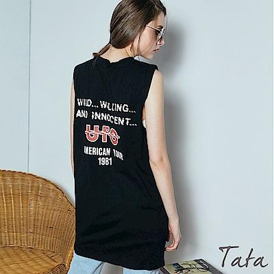 後背字母印花無袖洋裝 共二色 TATA