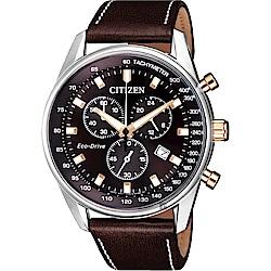 CITIZEN 星辰 限量光動能計時手錶-咖啡/40mm(AT2396-19X)