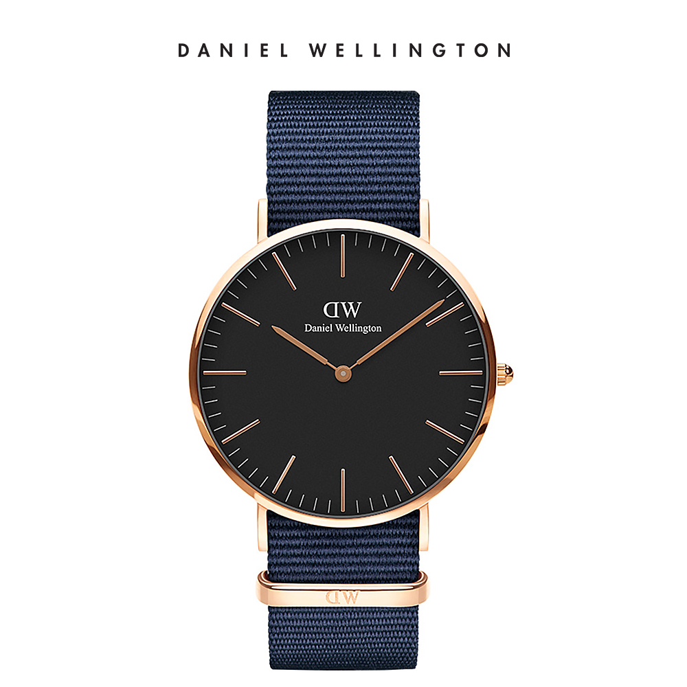 DW 手錶 官方旗艦店 40mm玫瑰金框 Classic 星空藍織紋錶